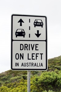 Drive on the left sign - Australia